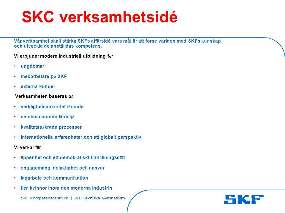 SKF Kompetenscentrum | SKF Tekniska Gymnasium SKC verksamhetsidé Vår verksamhet skall stärka SKFs affärsidé vars mål är att förse världen med SKFs kun