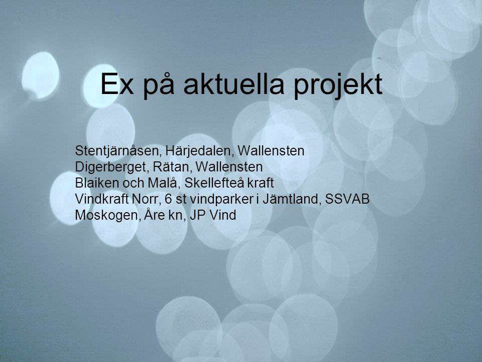Ex på aktuella projekt Stentjärnåsen, Härjedalen, Wallensten Digerberget, Rätan, Wallensten Blaiken och Malå, Skellefteå kraft Vindkraft Norr, 6 st vi