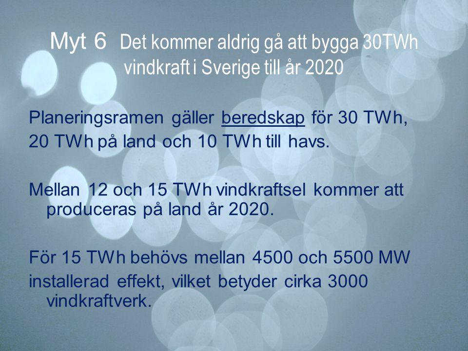 Myt 6 Det kommer aldrig gå att bygga 30TWh vindkraft i Sverige till år 2020 Planeringsramen gäller beredskap för 30 TWh, 20 TWh på land och 10 TWh til