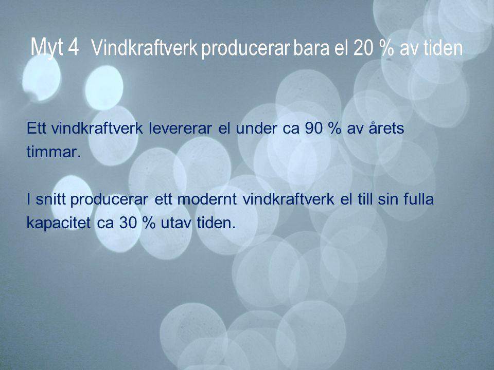 Myt 4 Vindkraftverk producerar bara el 20 % av tiden Ett vindkraftverk levererar el under ca 90 % av årets timmar. I snitt producerar ett modernt vind