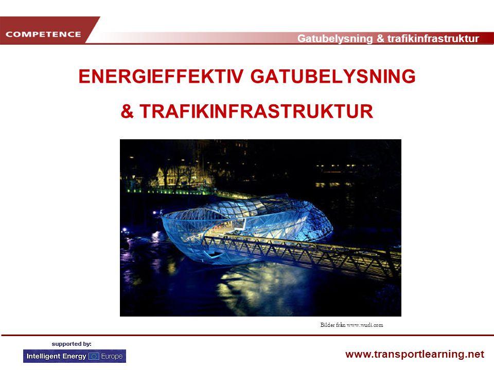 Gatubelysning & trafikinfrastruktur www.transportlearning.net EXEMPEL - GRAZ • Elektricitet kostar 1,1 Miljoner Euro • 4200 drifttimmar • Minskning av 10 minuter om dagen ger 1,5% minskade energikostnader • Utbyte av 720 lampor ger 530.000 färre kWh per år eller 58% Bildkälla www.energie-graz.at