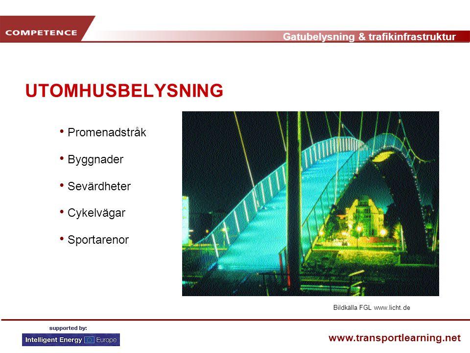 Gatubelysning & trafikinfrastruktur www.transportlearning.net UTOMHUSBELYSNING • Promenadstråk • Byggnader • Sevärdheter • Cykelvägar • Sportarenor Bi