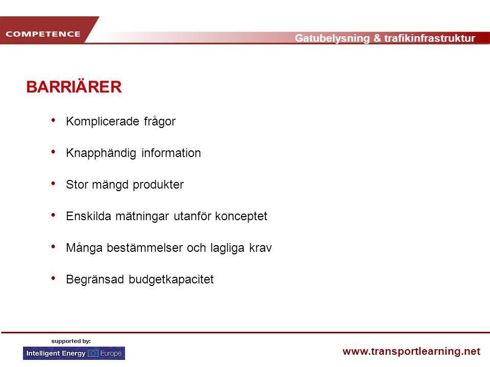 Gatubelysning & trafikinfrastruktur www.transportlearning.net BARRIÄRER • Komplicerade frågor • Knapphändig information • Stor mängd produkter • Enski