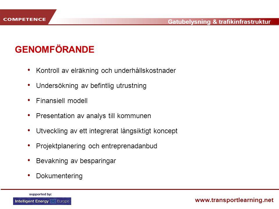 Gatubelysning & trafikinfrastruktur www.transportlearning.net GENOMFÖRANDE • Kontroll av elräkning och underhållskostnader • Undersökning av befintlig