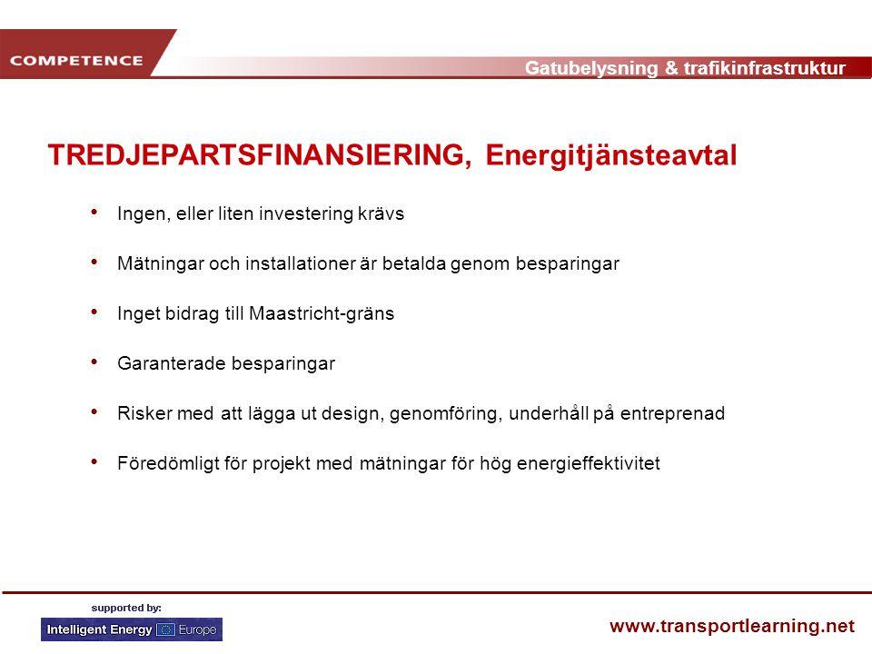 Gatubelysning & trafikinfrastruktur www.transportlearning.net TREDJEPARTSFINANSIERING, Energitjänsteavtal • Ingen, eller liten investering krävs • Mät