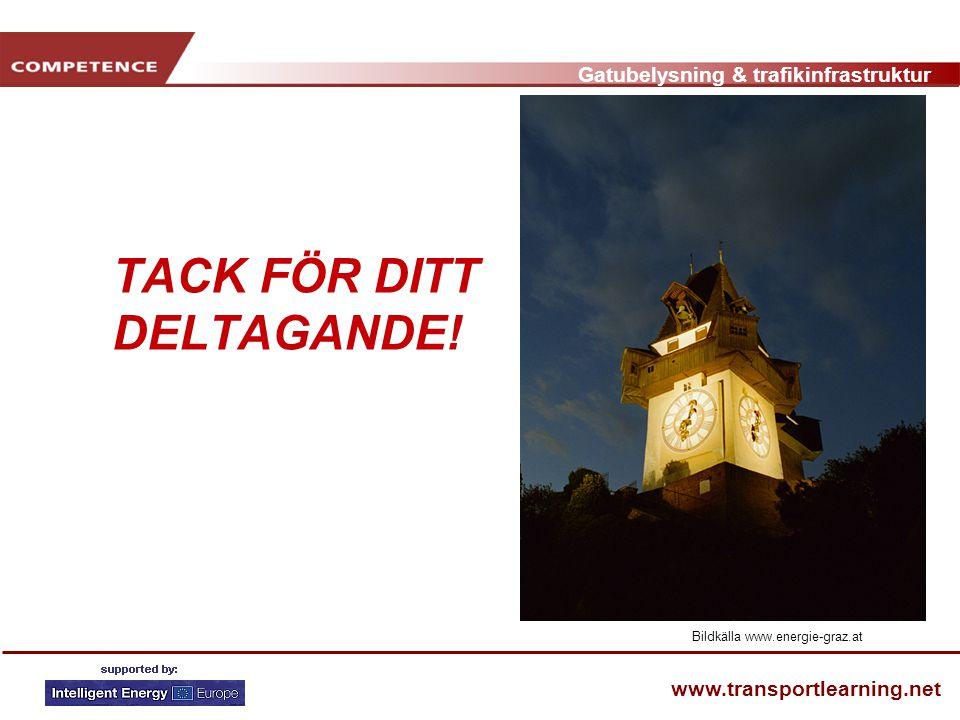 Gatubelysning & trafikinfrastruktur www.transportlearning.net TACK FÖR DITT DELTAGANDE! Bildkälla www.energie-graz.at