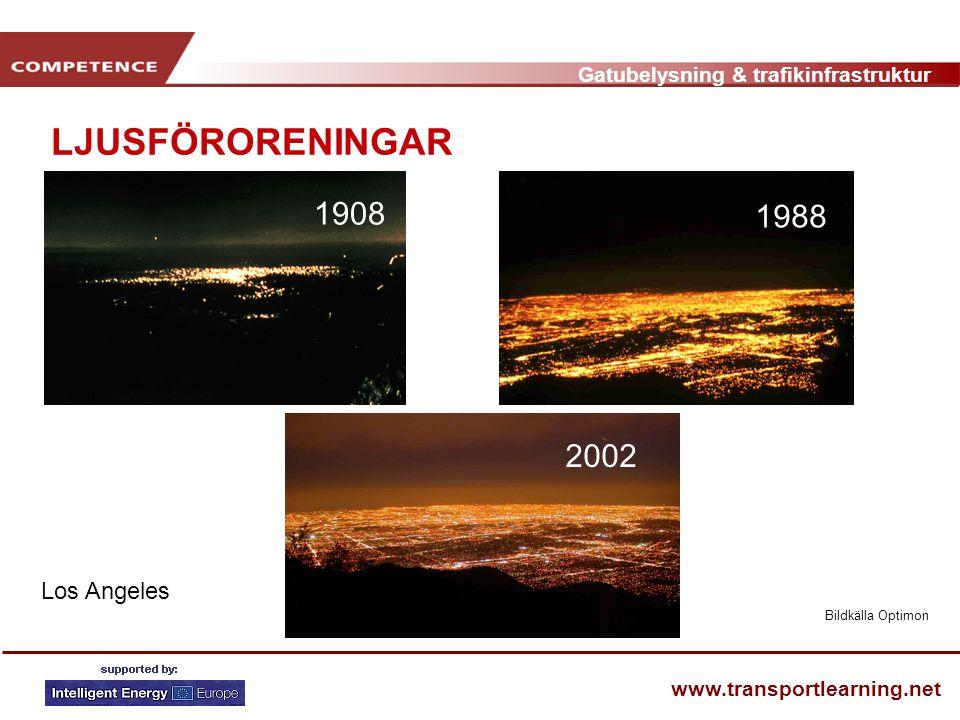 Gatubelysning & trafikinfrastruktur www.transportlearning.net LJUSFÖRORENINGAR • Aldrig helt mörkt på kvällen • Insekter drar sig till ljus • www.darksky.org