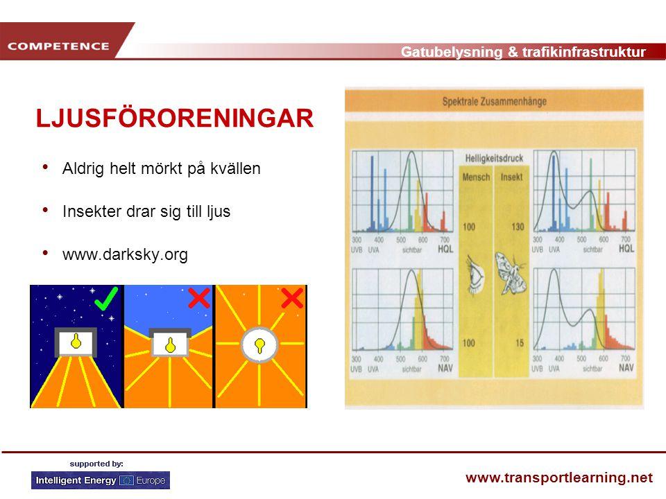 Gatubelysning & trafikinfrastruktur www.transportlearning.net GRUNDER Stråle [lm] Instrålning [lx = lm/m²] Intensitet [cd] Ljusstyrka [cd/m²]