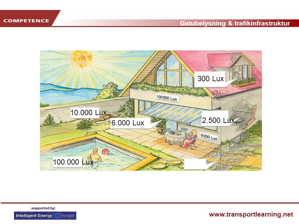Gatubelysning & trafikinfrastruktur www.transportlearning.net 6.000 Lux 2.500 Lux 10.000 Lux 100.000 Lux 300 Lux
