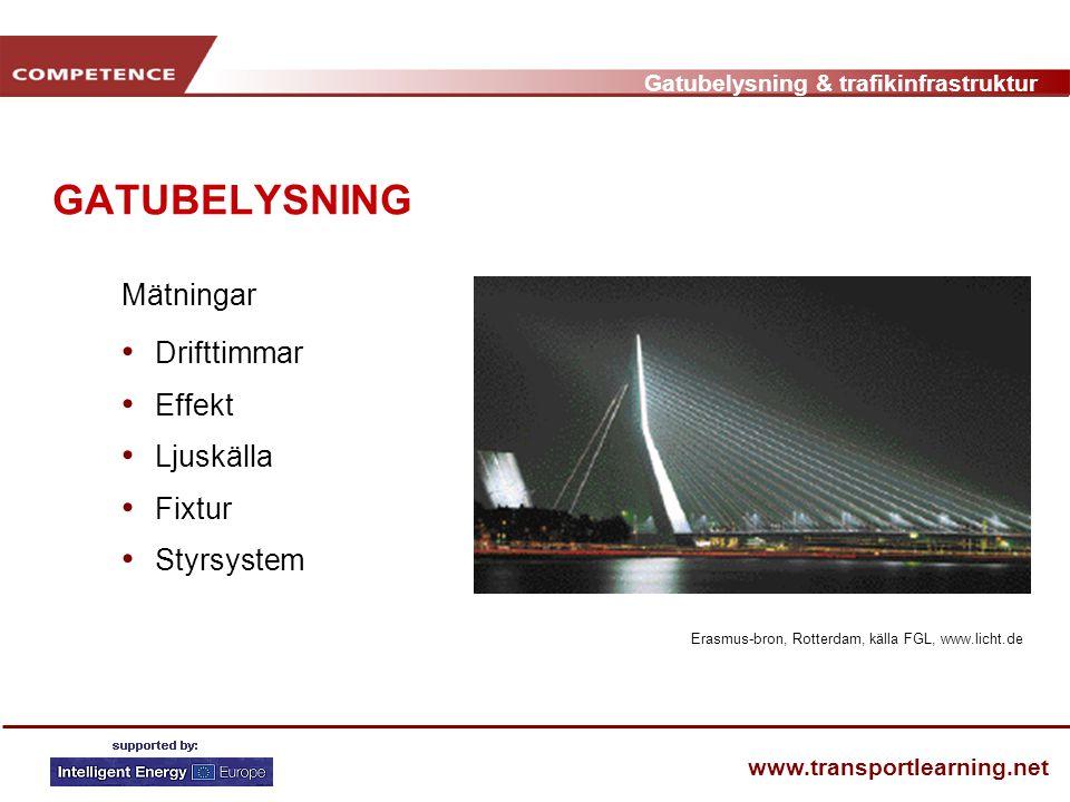 Gatubelysning & trafikinfrastruktur www.transportlearning.net GATUBELYSNING Mätningar • Drifttimmar • Effekt • Ljuskälla • Fixtur • Styrsystem Erasmus