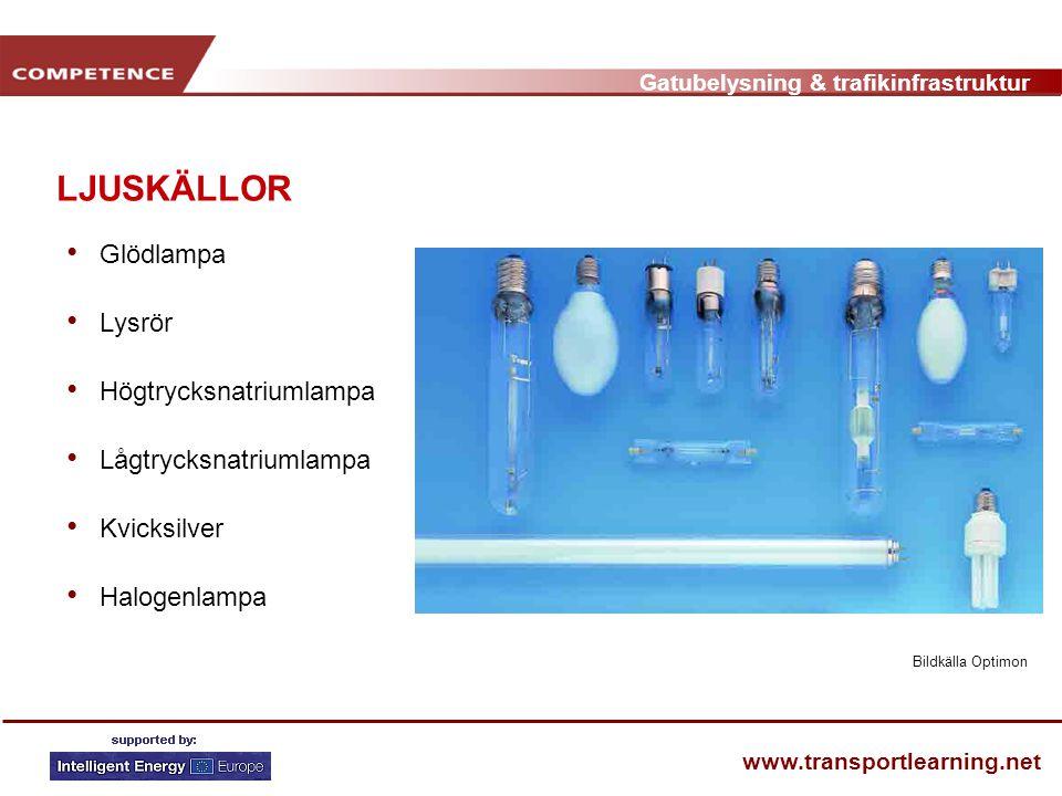 Gatubelysning & trafikinfrastruktur www.transportlearning.net LJUSKÄLLOR • Glödlampa • Lysrör • Högtrycksnatriumlampa • Lågtrycksnatriumlampa • Kvicks