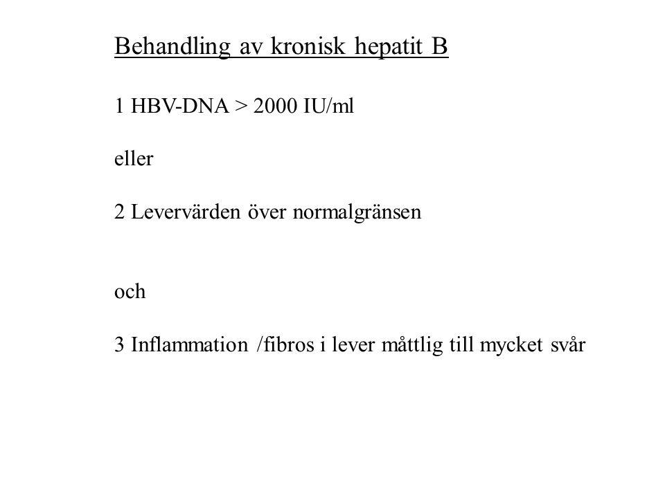 Behandling av kronisk hepatit B 1 HBV-DNA > 2000 IU/ml eller 2 Levervärden över normalgränsen och 3 Inflammation /fibros i lever måttlig till mycket svår
