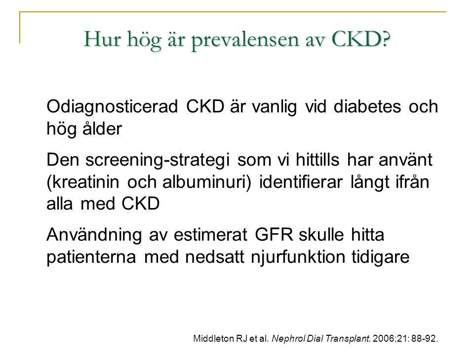 Hur hög är prevalensen av CKD? Odiagnosticerad CKD är vanlig vid diabetes och hög ålder Den screening-strategi som vi hittills har använt (kreatinin o