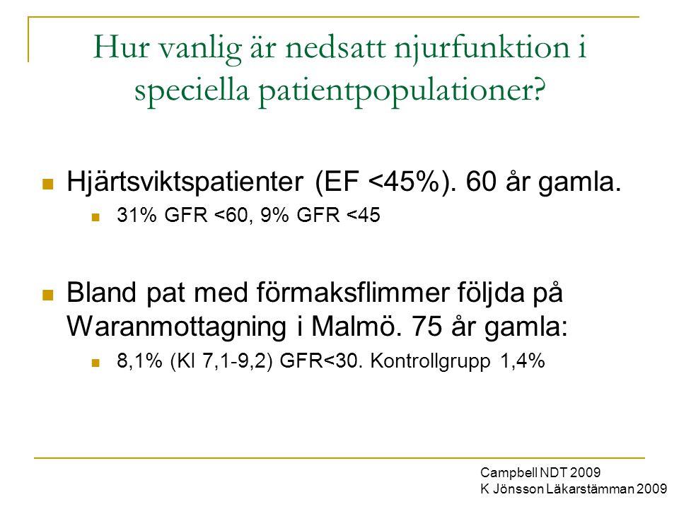 Hur vanlig är nedsatt njurfunktion i speciella patientpopulationer?  Hjärtsviktspatienter (EF <45%). 60 år gamla.  31% GFR <60, 9% GFR <45  Bland p