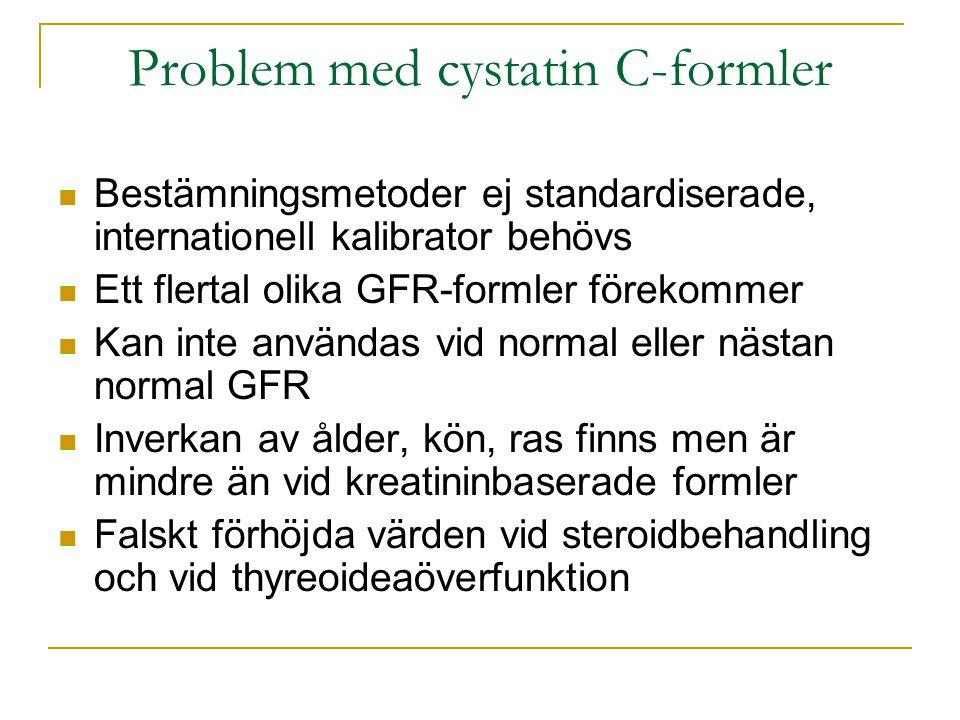 Problem med cystatin C-formler  Bestämningsmetoder ej standardiserade, internationell kalibrator behövs  Ett flertal olika GFR-formler förekommer 
