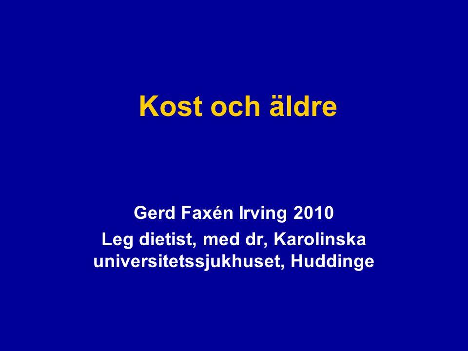 Äldre i Sverige idag •>1,5 miljoner (~18%) svenskar är 65 år eller äldre.