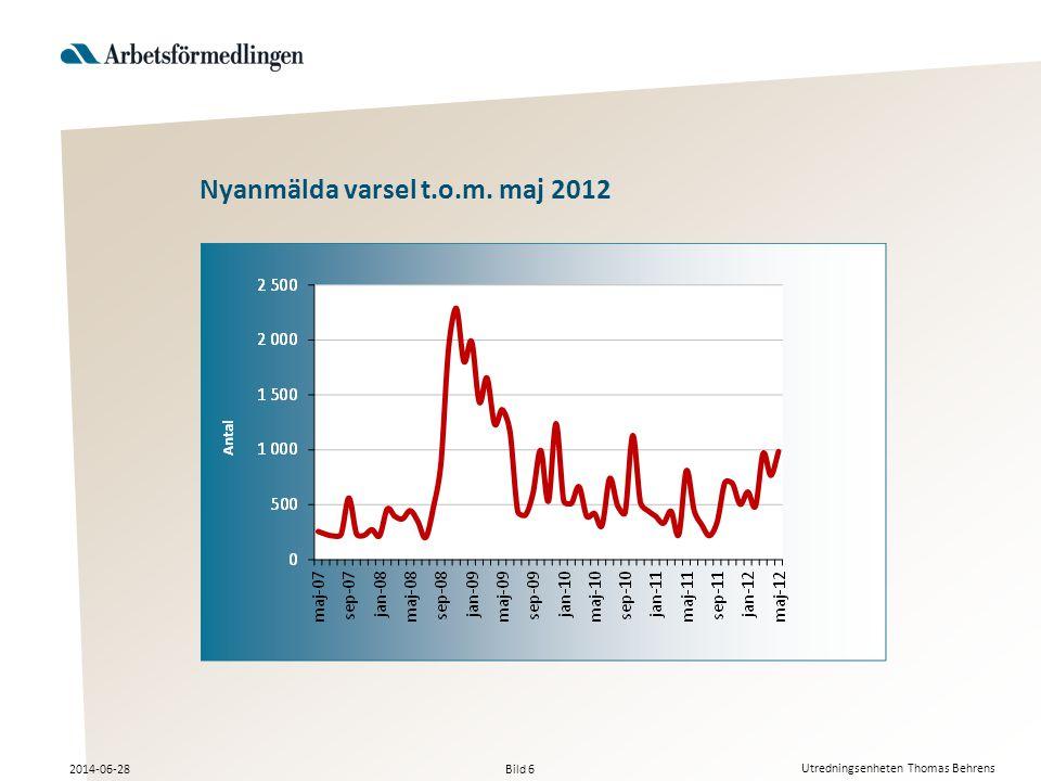 Bild 6 2014-06-28 Utredningsenheten Thomas Behrens Nyanmälda varsel t.o.m. maj 2012