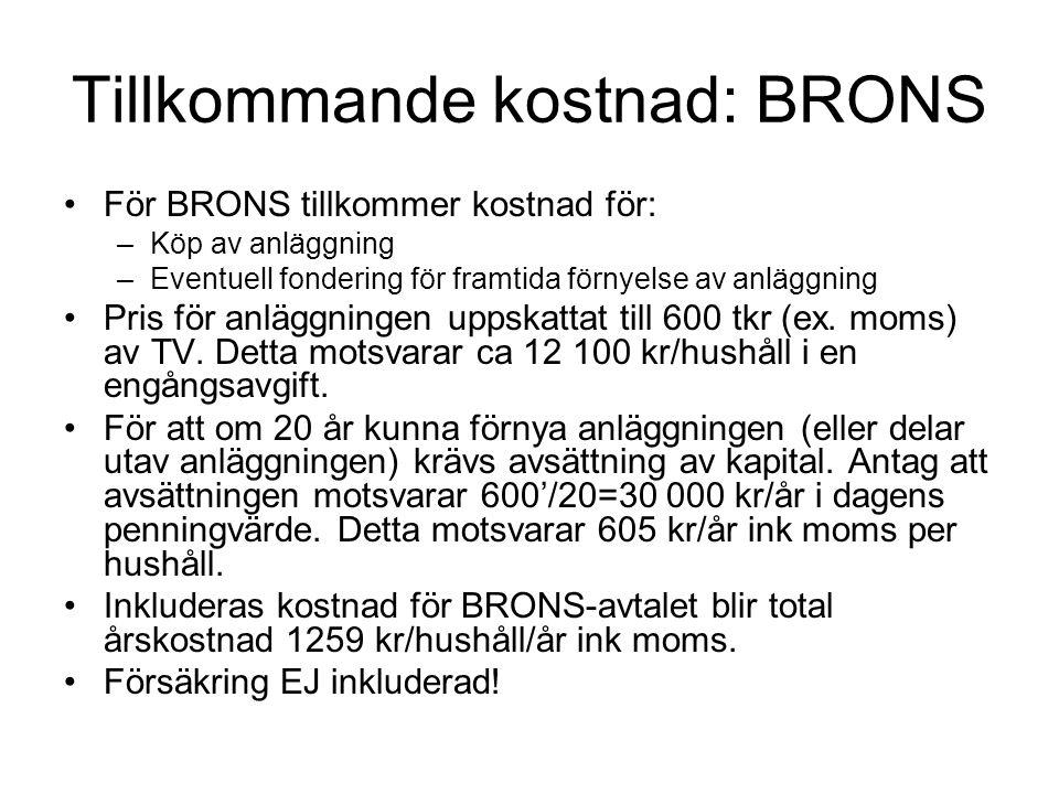 Tillkommande kostnad: BRONS •För BRONS tillkommer kostnad för: –Köp av anläggning –Eventuell fondering för framtida förnyelse av anläggning •Pris för