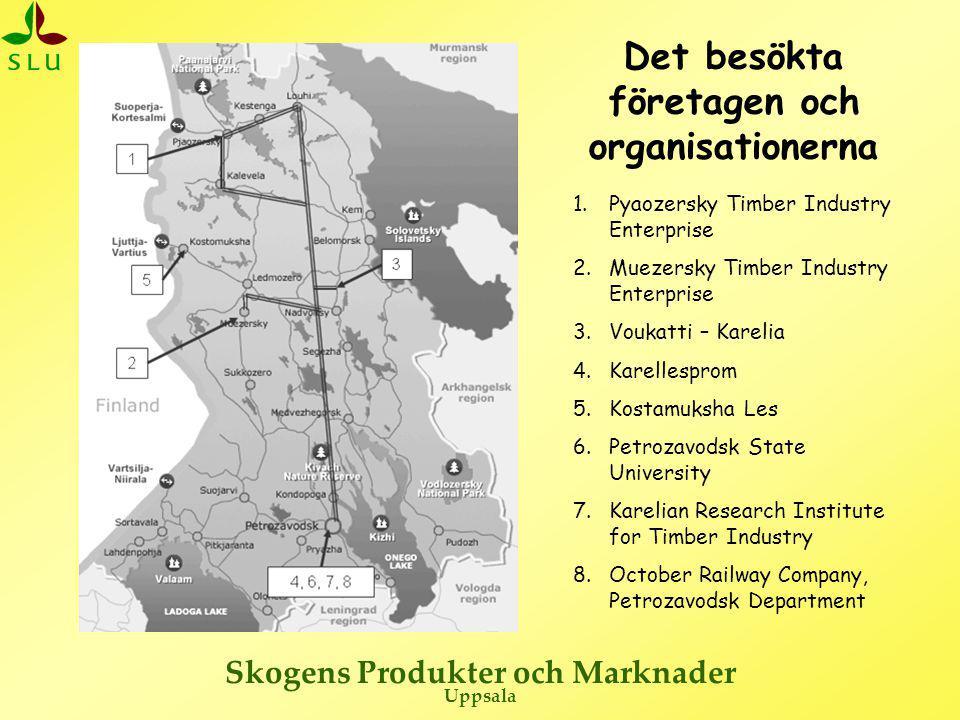 Skogens Produkter och Marknader Uppsala Besökta företag och organisationer •Pyaozersky Timber Industry Enterprise –(areal 361 500 ha, avverkar 300 000 m 3 /år) •Muezersky Timber Industry Enterprise –(areal 429 000 ha, avverkar 730 000 m 3 /år) •Karellesprom –(avverkar 850 000 m 3 /år, avverkningsrätt på 1 200 000 m 3 /år) •Voukatti-Karelia –(areal 283 000 ha avverkar 100 000 m 3 /år,) •Petrozavodsk State University •Karelian Research Institute for Timber Industry •October Railway, Petrozavodsk Department •Kostamuksha Les –(avverkar 120 – 140 000 m 3 /år)