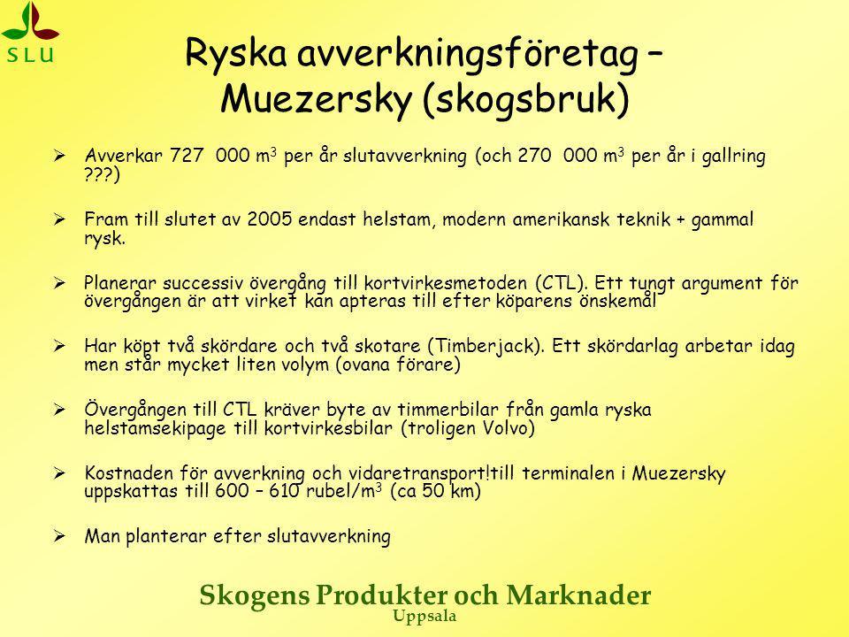 Skogens Produkter och Marknader Uppsala Ryska avverkningsföretag – Muezersky (skogsbruk)  Avverkar 727 000 m 3 per år slutavverkning (och 270 000 m 3