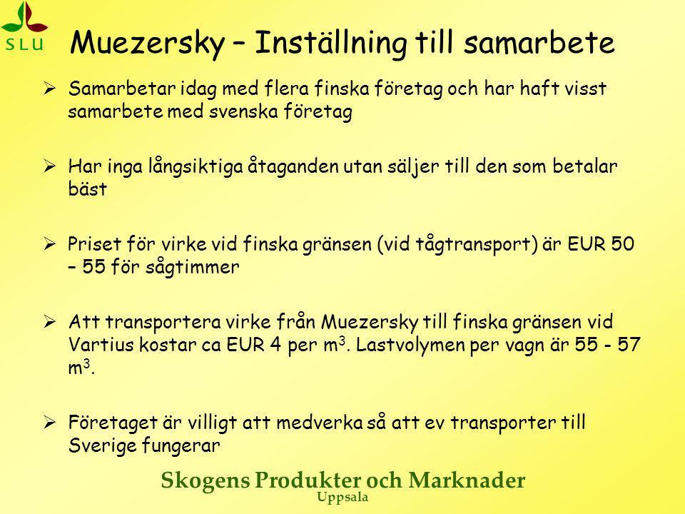 Skogens Produkter och Marknader Uppsala Muezersky – Inställning till samarbete  Samarbetar idag med flera finska företag och har haft visst samarbete med svenska företag  Har inga långsiktiga åtaganden utan säljer till den som betalar bäst  Priset för virke vid finska gränsen (vid tågtransport) är EUR 50 – 55 för sågtimmer  Att transportera virke från Muezersky till finska gränsen vid Vartius kostar ca EUR 4 per m 3.