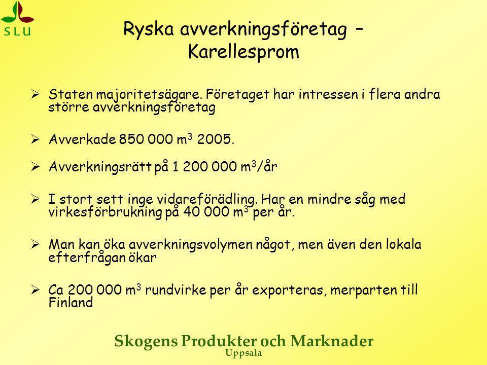 Skogens Produkter och Marknader Uppsala Ryska avverkningsföretag – Karellesprom  Staten majoritetsägare. Företaget har intressen i flera andra större