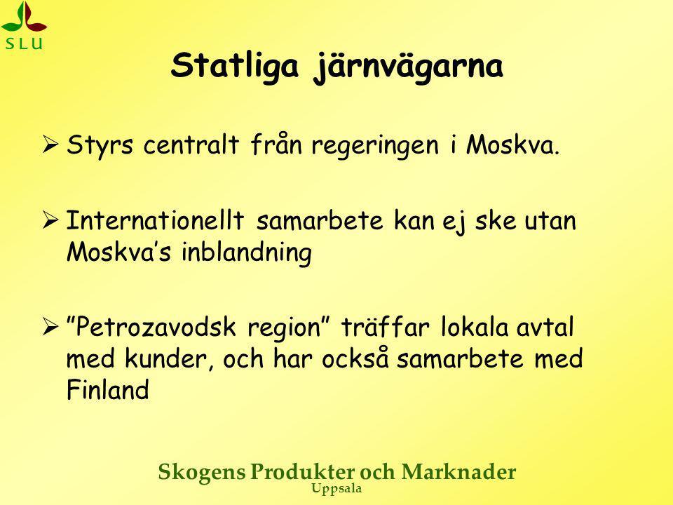 Skogens Produkter och Marknader Uppsala Statliga järnvägarna  Styrs centralt från regeringen i Moskva.  Internationellt samarbete kan ej ske utan Mo