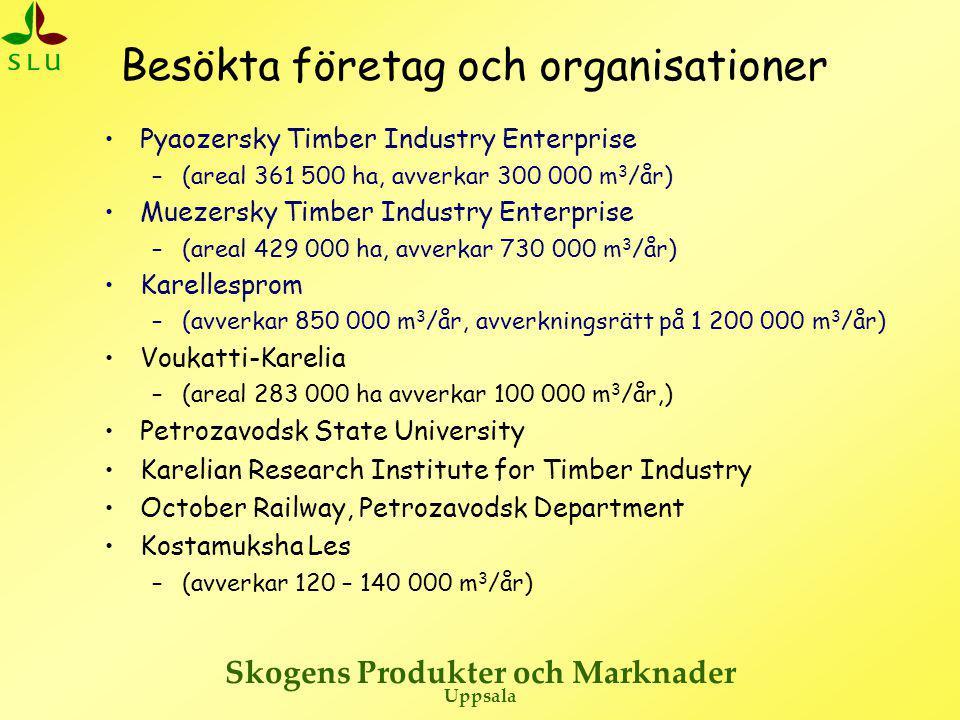 Skogens Produkter och Marknader Uppsala Ryska avverkningsföretag – Pyaozersky  Grundat 1973  Avverkar 300 000 m 3 /år (35% timmer, 50% massaved, 15% ved)  Avverkningsrätt på 361 500 ha (310 000 m 3 /år), 60% tall och 40% gran  Antalet anställda ca 650  Man skulle kunna öka avverkningsvolymen något.