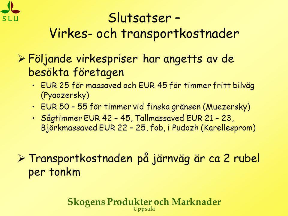 Skogens Produkter och Marknader Uppsala Slutsatser – Virkes- och transportkostnader  Följande virkespriser har angetts av de besökta företagen •EUR 2