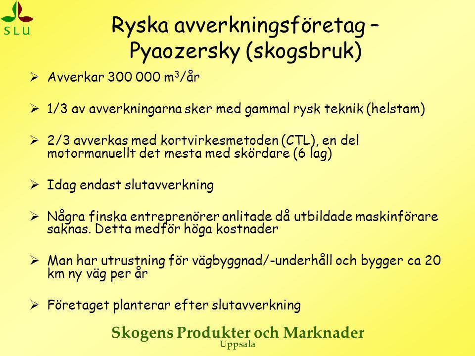 Skogens Produkter och Marknader Uppsala Pyaozersky – Inställning till samarbete  Företaget har goda relationer till Finland men känner sig inte bundna av att sälja virket dit  Man har ett överskott på björkmassaved  Man har ca 40 000 m 3 sågtimmer och ca 10 000 m 3 sågad vara per år som kan byta köpare  Finska bolag betalar EUR 25 för massaved och EUR 45 för timmer fritt bilväg  Det är möjligt för finska timmertransporter att passera gränsen (mot Kusamo) utan speciellt tillstånd  Intresserad av utbildning av maskinförare på rysk sida