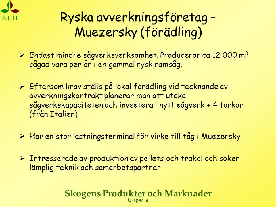 Skogens Produkter och Marknader Uppsala Ryska avverkningsföretag – Muezersky (förädling)  Endast mindre sågverksverksamhet.