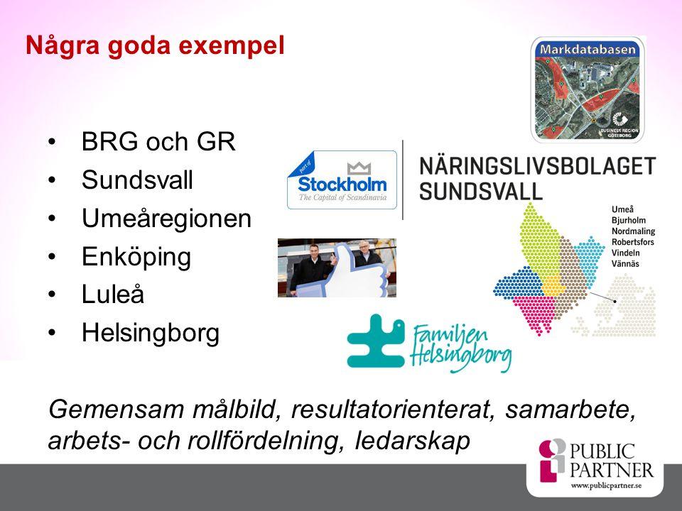 •BRG och GR •Sundsvall •Umeåregionen •Enköping •Luleå •Helsingborg Gemensam målbild, resultatorienterat, samarbete, arbets- och rollfördelning, ledars