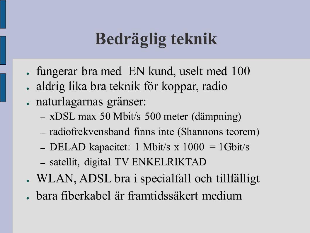 Bedräglig teknik ● fungerar bra med EN kund, uselt med 100 ● aldrig lika bra teknik för koppar, radio ● naturlagarnas gränser: – xDSL max 50 Mbit/s 50