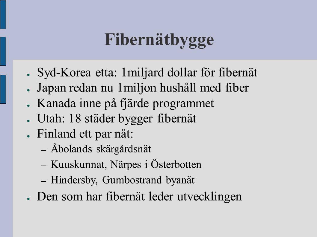 Fibernätbygge ● Syd-Korea etta: 1miljard dollar för fibernät ● Japan redan nu 1miljon hushåll med fiber ● Kanada inne på fjärde programmet ● Utah: 18
