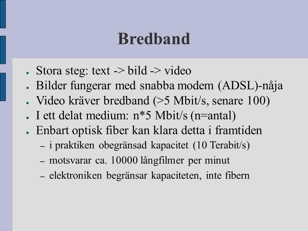 Bredband ● Stora steg: text -> bild -> video ● Bilder fungerar med snabba modem (ADSL)-nåja ● Video kräver bredband (>5 Mbit/s, senare 100) ● I ett de