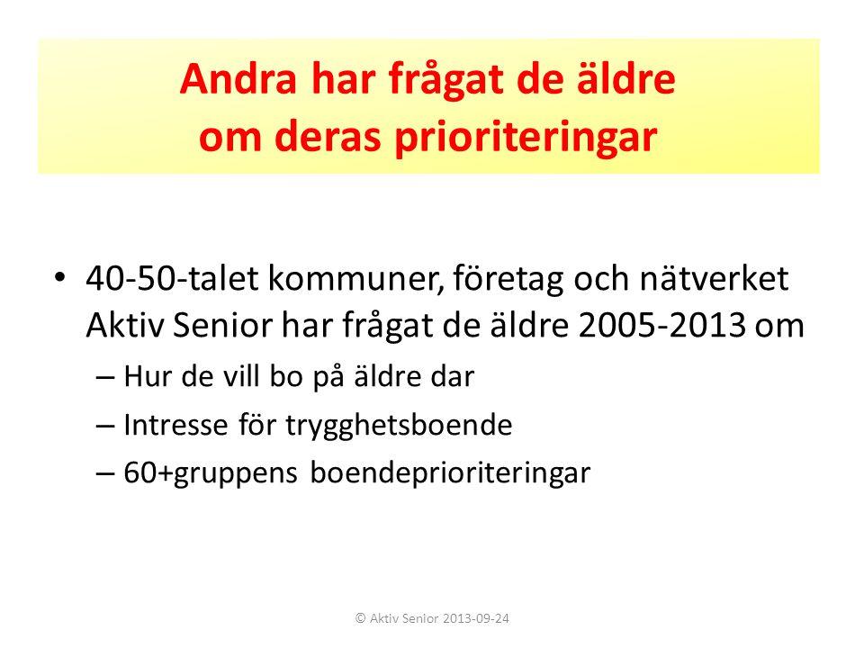 Intresse för trygghetsboende i Göteborg 2011 1 2049 svarande i åldern 70-90 år Fråga om seniorboende i allmänhet: • De flesta trivs och vill bo kvar så länge som möjligt • 2 av 10 överväger dock att flytta • 3 av 10 bedömer att det är aktuellt att flytta inom 1-4 år © Aktiv Senior 2013-09-24