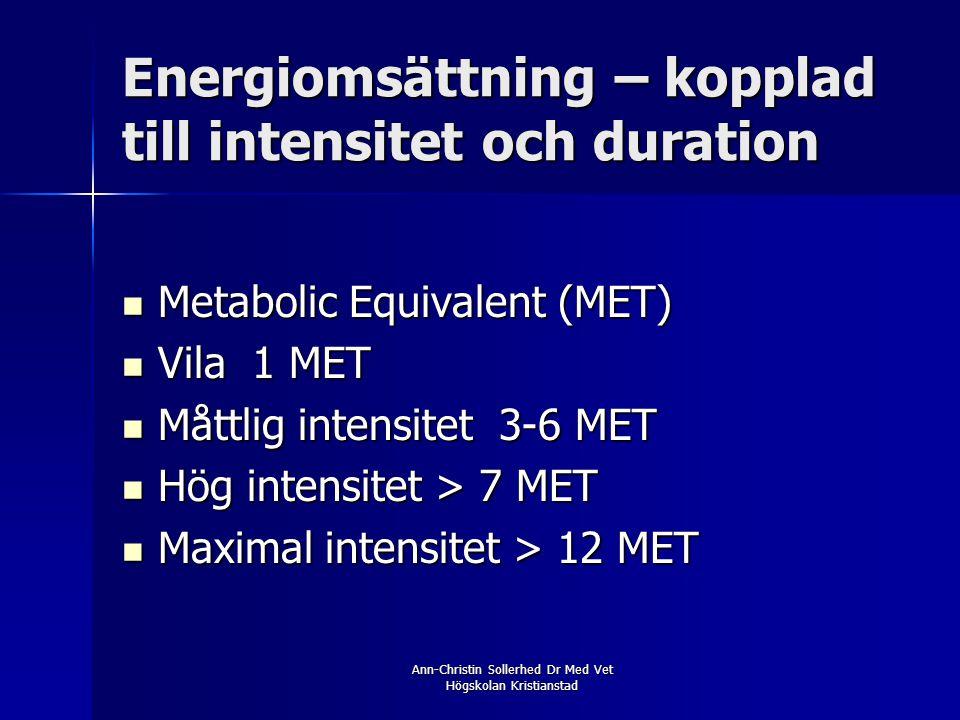 Ann-Christin Sollerhed Dr Med Vet Högskolan Kristianstad Energiomsättning – kopplad till intensitet och duration  Metabolic Equivalent (MET)  Vila 1