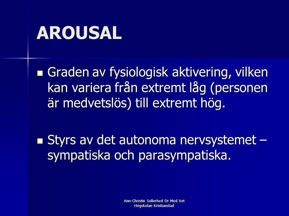 Ann-Christin Sollerhed Dr Med Vet Högskolan Kristianstad AROUSAL  Graden av fysiologisk aktivering, vilken kan variera från extremt låg (personen är