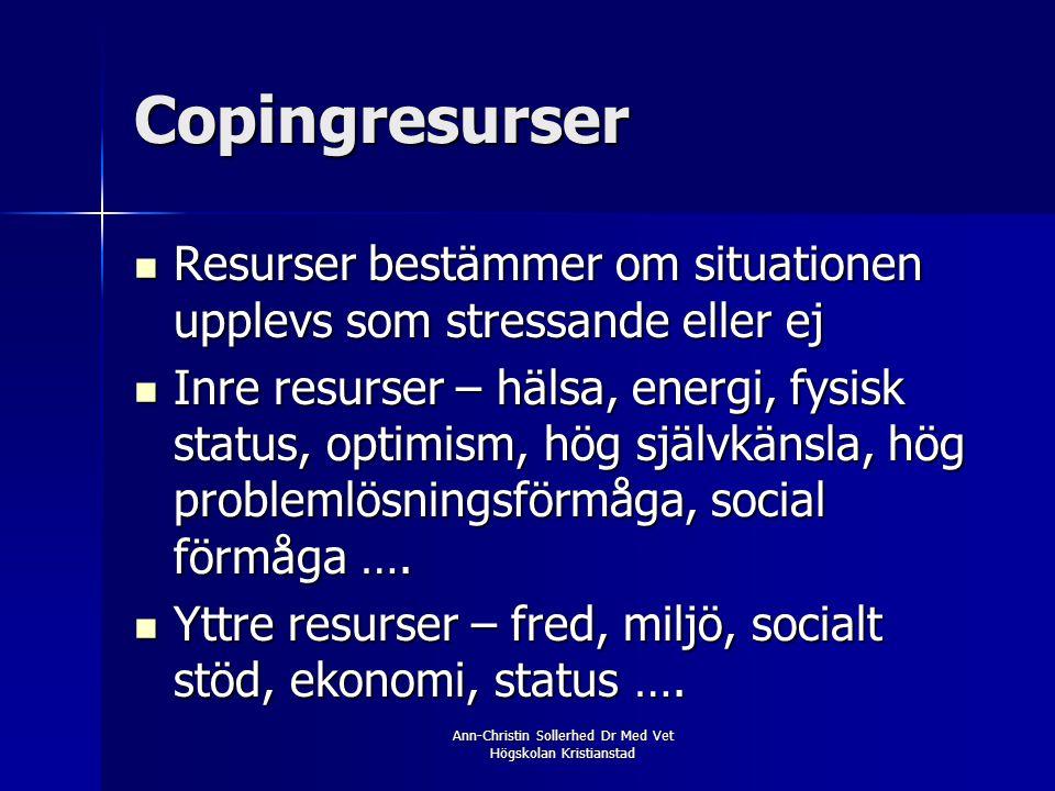 Ann-Christin Sollerhed Dr Med Vet Högskolan Kristianstad Copingresurser  Resurser bestämmer om situationen upplevs som stressande eller ej  Inre res