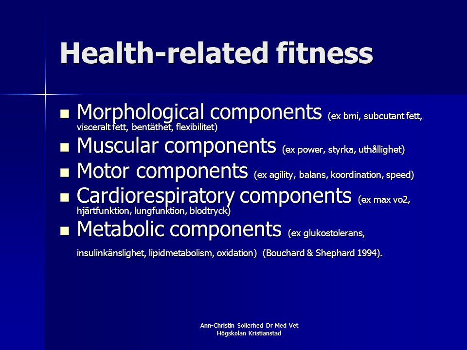 Ann-Christin Sollerhed Dr Med Vet Högskolan Kristianstad Health-related fitness  Morphological components (ex bmi, subcutant fett, visceralt fett, be