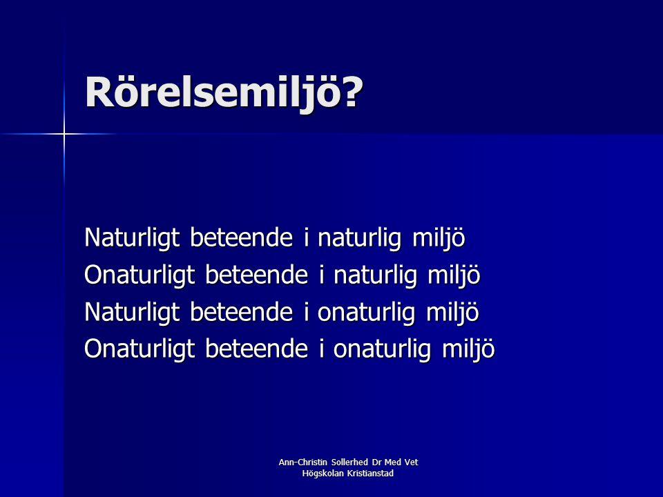 Ann-Christin Sollerhed Dr Med Vet Högskolan Kristianstad Rörelsemiljö? Naturligt beteende i naturlig miljö Onaturligt beteende i naturlig miljö Naturl