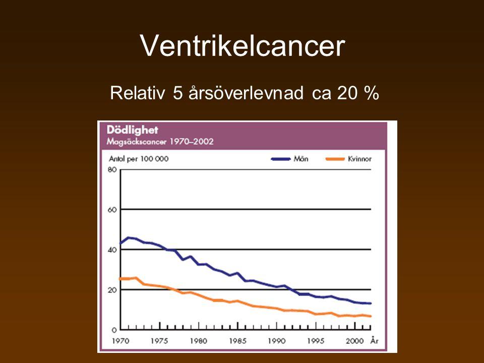 Ventrikelcancer Relativ 5 årsöverlevnad ca 20 %
