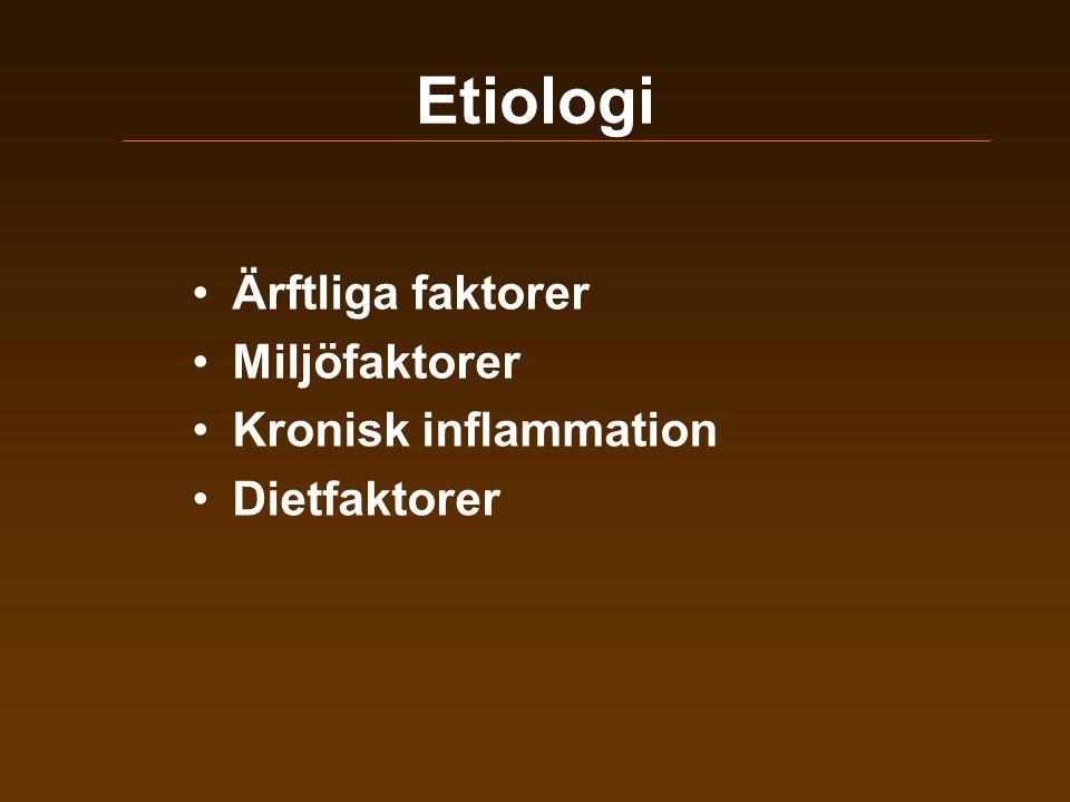 Etiologi •Ärftliga faktorer •Miljöfaktorer •Kronisk inflammation •Dietfaktorer