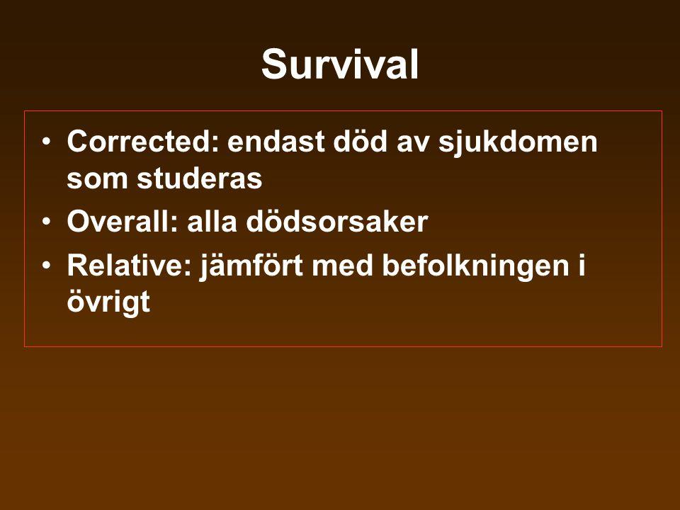 Survival •Corrected: endast död av sjukdomen som studeras •Overall: alla dödsorsaker •Relative: jämfört med befolkningen i övrigt