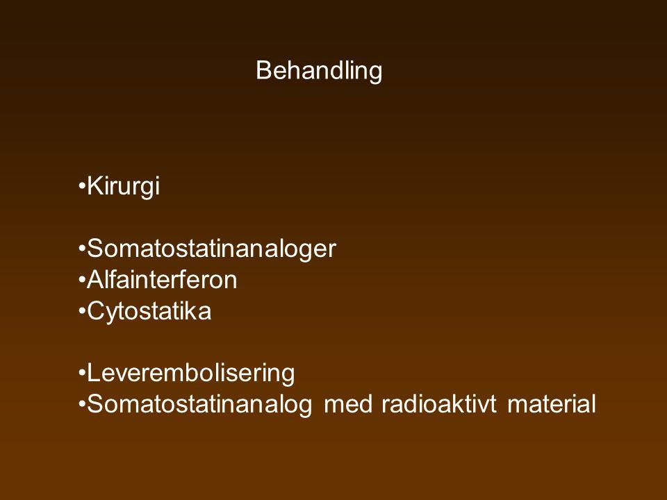 Behandling •Kirurgi •Somatostatinanaloger •Alfainterferon •Cytostatika •Leverembolisering •Somatostatinanalog med radioaktivt material