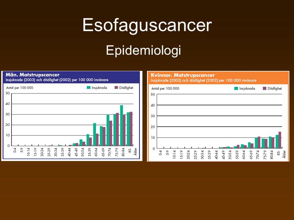 Esofaguscancer Palliativ behandling •Stent •Dilatation •PEG, Witzelfistel, PAC •Palliativ strålning •Palliativ cytostatika •Palliativ resektion •Brachyterapi •Lokalbehandling