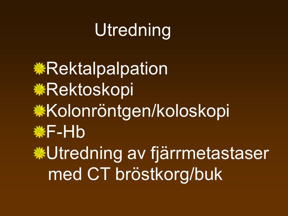 Rektalpalpation Rektoskopi Kolonröntgen/koloskopi F-Hb Utredning av fjärrmetastaser med CT bröstkorg/buk