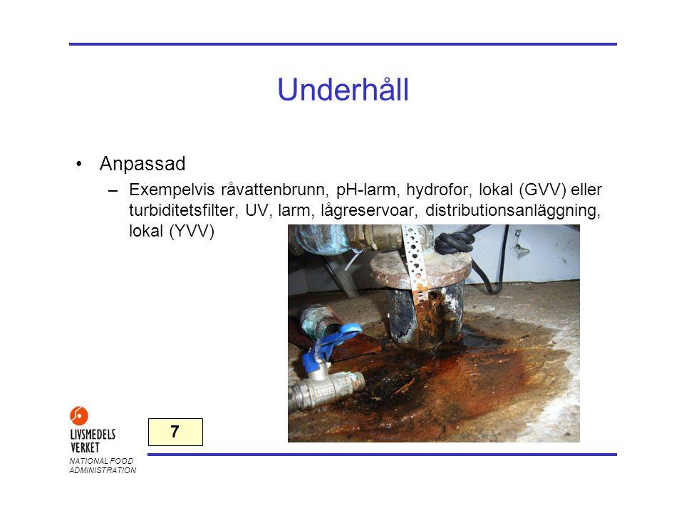 NATIONAL FOOD ADMINISTRATION Underhåll •Anpassad –Exempelvis råvattenbrunn, pH-larm, hydrofor, lokal (GVV) eller turbiditetsfilter, UV, larm, lågreser