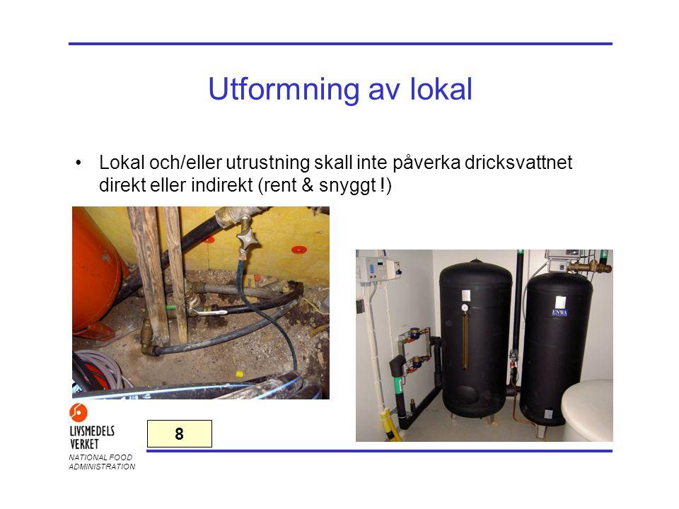 NATIONAL FOOD ADMINISTRATION Utformning av lokal •Lokal och/eller utrustning skall inte påverka dricksvattnet direkt eller indirekt (rent & snyggt !)
