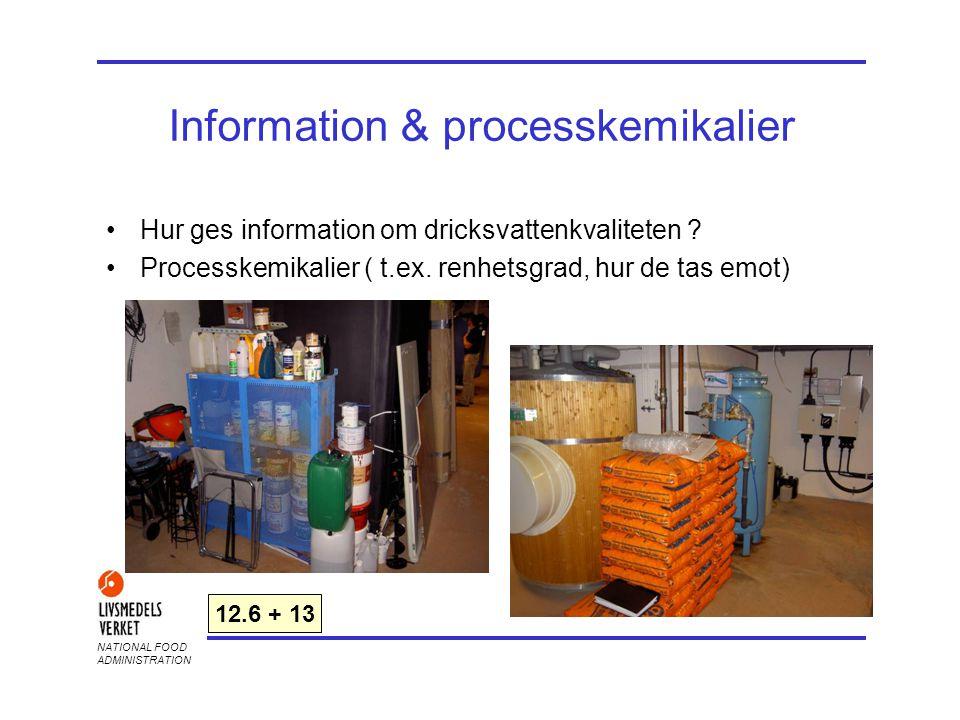 NATIONAL FOOD ADMINISTRATION Information & processkemikalier •Hur ges information om dricksvattenkvaliteten ? •Processkemikalier ( t.ex. renhetsgrad,